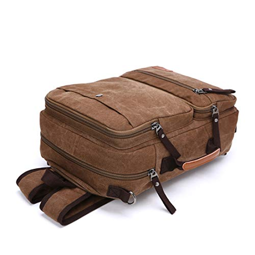 colore Hiking Outdoor Houyazhan Laptop zaino Canvas Bag Zipper Uomini Marrone nero School donne impermeabile Vintage per 77POwqf