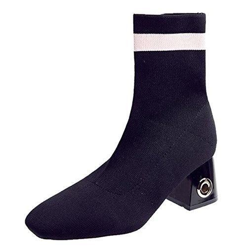 Binying Women's Hollow Block Heel Slip-on Textile Ankle Boots Black s9rzS