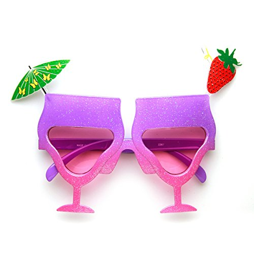 zeroUV - Cocktail Mixed Drink Party Time Celebration Novelty Sunglasses (Purple-Pink - Sunglasses Cocktail Novelty