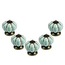 abcGoodefg® Ceramic Pumpkin Knobs for Dresser Drawer Kitchen Cabinet Door Cupboard Pulls Handles (Light Blue, 5PCS)
