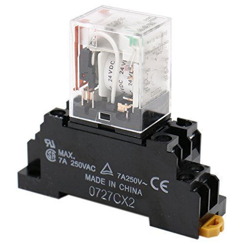 Baomain Gereral Purpose Relay MY2N-GS DC 24V Coil LED Indicator 8 pin terminal with DIN Rail PYF8A Socket Base