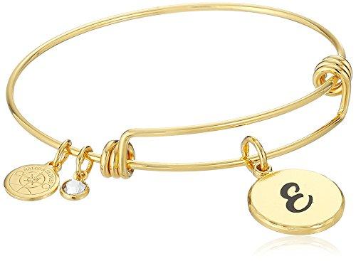 Halos & Glories Initial E Shiny Gold Bangle Bracelet