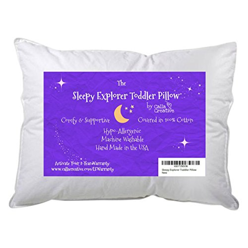 13''x18'' Toddler Pillow by Sleepy Explorer - 100% White Cotton Machine Washable - Hypoallergenic - No Clump No Flat Filling + 3 Year Guarantee - for Sleeping Naps Travel Daycare and Toddlers First Bed by Sleepy Explorer