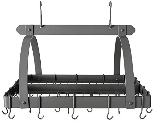 Old Dutch Rectangular Hanging Pot Rack with Grid & 24 Hooks, Graphite, 30