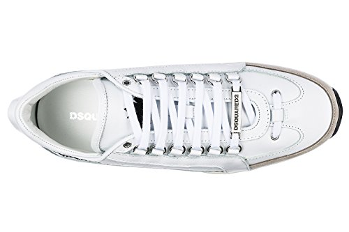 Dsquared2 Chaussures Baskets Sneakers Homme en Cuir 551 Blanc