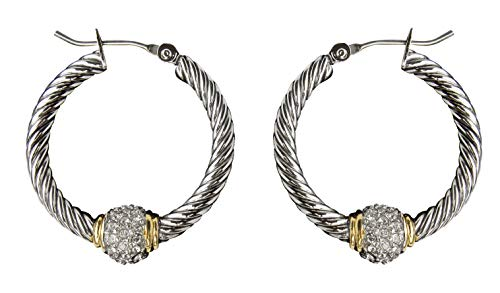 John Medeiros Lovely Antiqua Collection Pavè Setting Clear Cubic-Zirconia Twisted Cable Wire Handcrafted Silver and Gold Tone Hoop Earrings Made in America made in New England