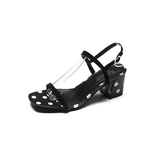 High-Heeled Shoes Sandals And Stylish Buckle After The Summer Period With Bold And That The Black 36 by WHL Shoes