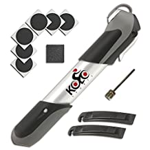 Premium Mini Bicycle Pump By Kolo Sports - Bike Tire Repair Essentials Kit - Frame Mounted 120 Psi Aluminum Telescopic Pump - Presta & Schrader Reversible Valve - Patches & Ball Needle