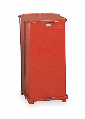 Rubbermaid Commercial Defenders Front Step-On Trash Can with Plastic Liner, 24 Gallon, Red, FGST24EPLRD -