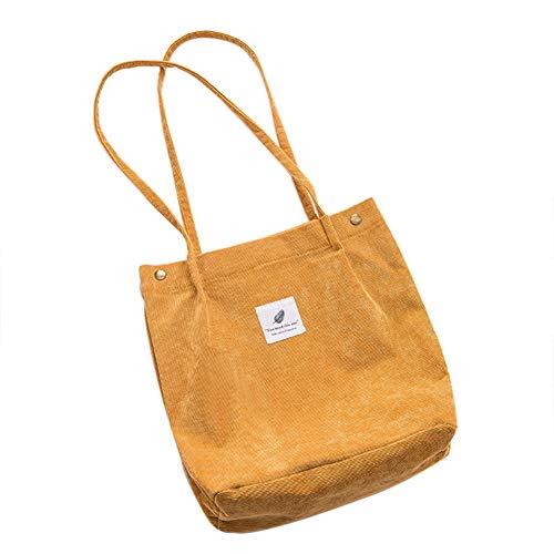 Small Canvas Tote (Belsmi Crossbody Beach Laundry Bag Womens Ladies Girls 15 Inches Heavy Corduroy Cotton Shoulder Bag Shopping Retro Casual Handbags Canvas Totes Bag)