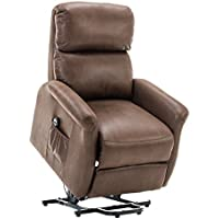 BONZY Lift Recliner Classic Power Lift Chair Soft Warm Fabric Remote Control Gentle Motor - Chocolate