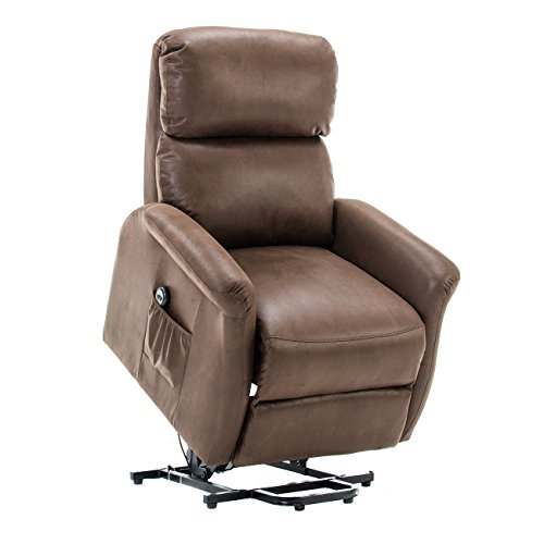 BONZY Lift Recliner Classic Power Lift Chair Soft and Warm Fabric with Remote Control for Gentle Motor - (Power Lift Recliner Chairs)