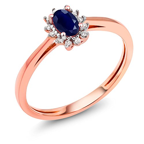 Gem Stone King 18K Rose Gold 0.35 Ct Blue Sapphire with Diamond Accent Engagement Ring (Size 6)