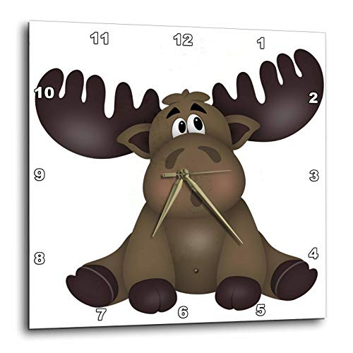 3dRose Anne Marie Baugh - Illustrations - Cute Brown Sitting Baby Moose Illustration - 10x10 Wall Clock - Clock Brown Baby
