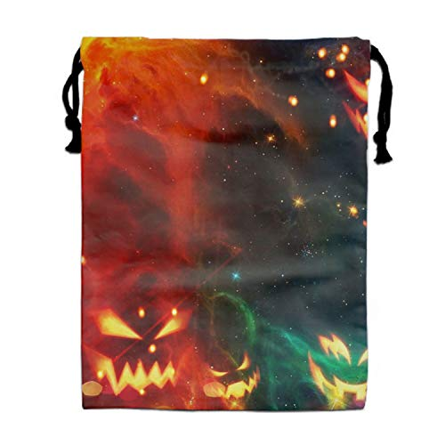 Halloween Ghost Drawstring Backpack Bags Sack Pack Tote Kids Sport Storage Polyester Bag for Gym -