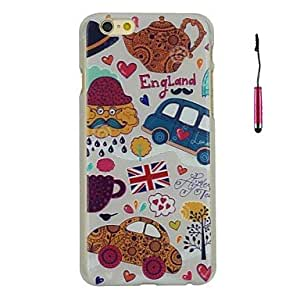 QHY Embossed Colorful Scrawl Cars Pattern PC Hard Back Cover Case with Touch Pen for iPhone 6