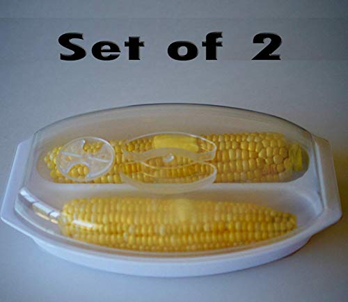 Microwave Corn Steamer (Set of 2). Microwave 4 Ears of Corn at a Time. Includes Vented Lid and Cook Friendly Handle