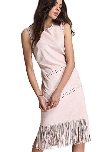 ANNA&CHRIS Women Midi Dress O-Neck Slimming Sleeveless Tassel Cocktail Dress (Slimming Cocktail Dresses)