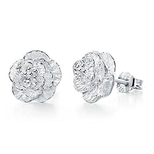 - Elegant Cute Women Lady Girls Silver Rose Flower Stud Earrings (Silver, Alloy)