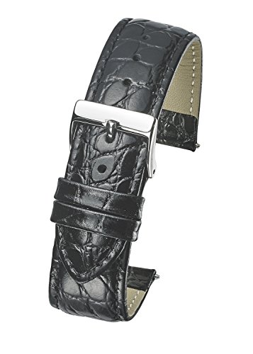 (Genuine Leather Watch Band Strap in Shiny Croco Grain Finish - 22mm - Black)