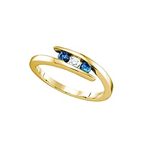 10kt Yellow Gold Womens Round Blue Colored Diamond 3-stone Ring 1/4 Cttw