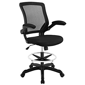 Image of Modway MO-EEI-1423-BLK Veer-Reception Desk Flip-Up Arm Drafting Chair, Black Home and Kitchen