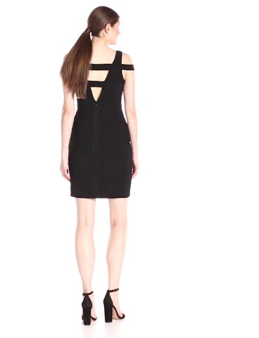 Adrianna Papell Womens Cold Shoulder Dress