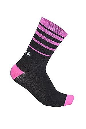 RH + Feel 15, Calcetines Ciclismo Hombre, Negro/Deep Pink, S/