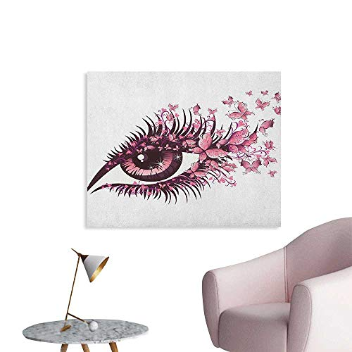 Anzhutwelve Butterflies Wallpaper Fairy Female Eye with Butterflies Eyelashes Mascara Stare Party Makeup Custom Poster Pale Pink Purple W36 xL24