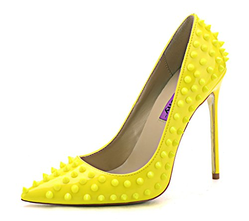 2 High Court Fashion Toe Pointed Pumps Shoes 9 5 Bridal On UK Party heels Classic Rivet Yellow Slip qqnCwF6E