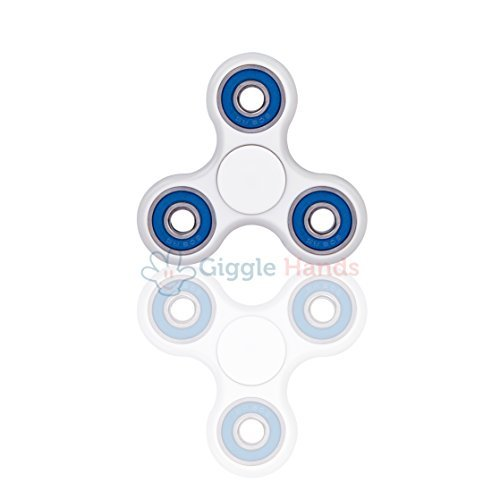 Fidget Hand Spinner - Stress Reducer, Stress Relief, Autism - WHITE WITH BLUE RINGS