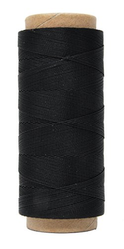 Mandala Crafts 0.45mm Leather Sewing Hand Stitching Jewelry Craft Round Waxed Thread String Cord (0.45mm, Black) (Waxy Pull)