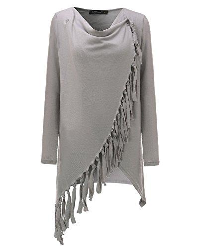 StyleDome Mujer Suéter Jersey Asimétrico Blusa Camiseta Mangas Largas Casual Elegante Borlas Escote Buche Oficina Gris