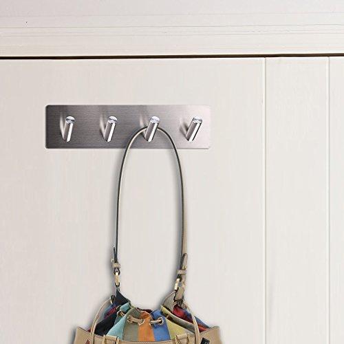 Sumnacon 3M Self-Adhesive Bath Towel Hook, Stainless Steel Bathroom Lavatory Coat&Robe Hook Wall Hook Hanger Holder Rack/Rail (4 Hooks) lovely