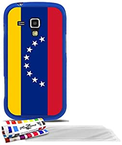 """Carcasa Flexible Ultra-Slim SAMSUNG GALAXY S DUO de exclusivo motivo [Venezuela Bandera] [Azul] de MUZZANO  + 3 Pelliculas de Pantalla """"UltraClear"""" + ESTILETE y PAÑO MUZZANO REGALADOS - La Protección Antigolpes ULTIMA, ELEGANTE Y DURADERA para su SAMSUNG GALAXY S DUO"""