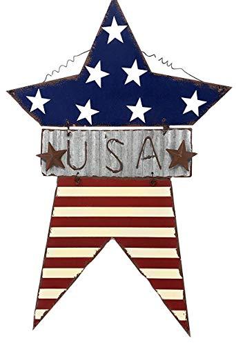 - D.I. Inc Large USA Star Patriotic Americana Wall Door Decor Rustic Metal Galvanized Plate (13.5