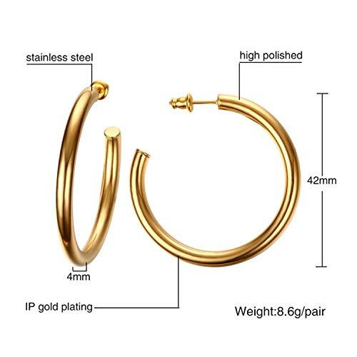 Bracelet Monet Pattern (Joyhul Advanced Large Star Large Hoop Earring for Women Grill Gold Silver Statement Earrings Bijoux Jewelry Party Club LE0196,42mmgoldcolor)