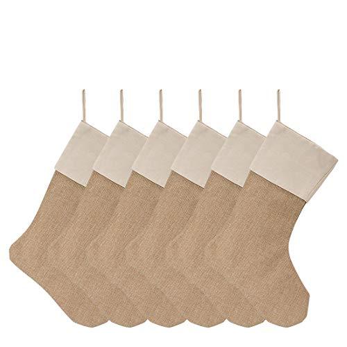 KOMIWOO 6 PCS Burlap Christmas Stockings Set 18-Inch for Christmas Decorations or DIY Craft -