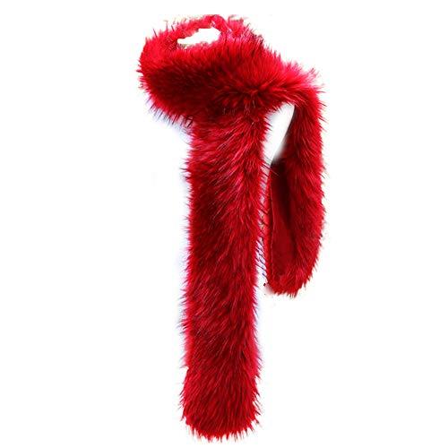(Bettli Women's Men's Extra Large Faux Fox Raccoon Fur Scarf Collar Stole Shawl (Red))