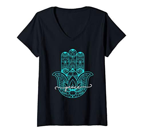 Womens Peace Hamsa Hand V-Neck T-Shirt