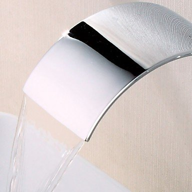 Contemporary bathroom accessories three-hole widespread wall mounted waterfalls 3 piece bathroom taps by FAUCET&YAMEIJIA