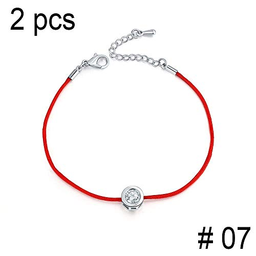 - EveyWell Nice 2 Pcs/Lot Charm Bracelets for Women Red Rope 6Mm Cubic Zirconia Tennis Bracelet Bangle Jewelry,7