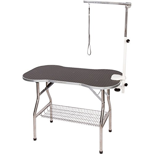 "Flying Pig Heavy Duty Stainless Steel Pet Dog Cat Bone Pattern Rubber Surface Grooming Table With Arm/Noose (Black, 38"" L X 22"" W)"