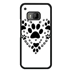 Htc One M9 Mobile Cover Fresh And Bright Protective Phone Case Snap on Htc One M9 Vector Graphics Of Dog Paw Prints Consisting Of Heart Pattern Cellphone Shell