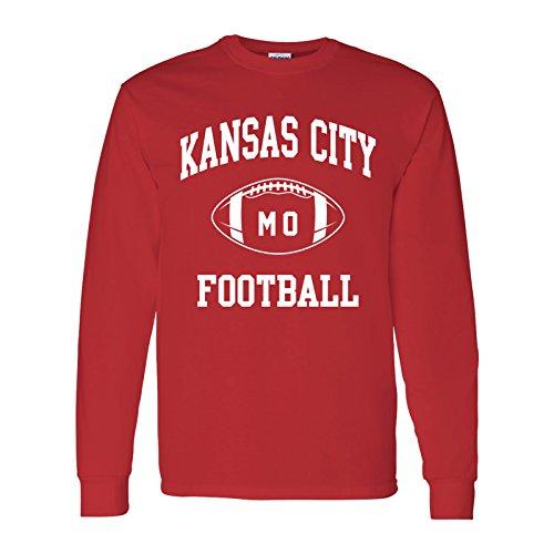 (Kansas City Classic Football Arch American Football Team Long Sleeve T Shirt - Large - Red)