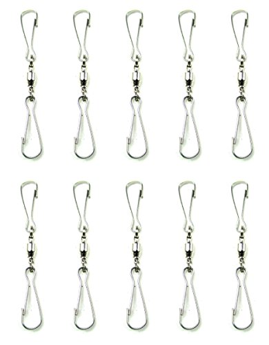 Stainless Steel Pinwheel (Stainless Steel Swivel Hanging Hooks Display Wind Spinners Crystals Twisters Windsocks Ornaments (10, Clip and Clip))
