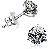 """""""STUNNING FLAME"""" 18K Gold Plated Silver Brilliant Cut Simulated Diamond CZ Stud Earrings"""