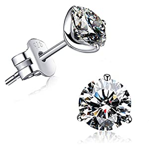 """""""STUNNING FLAME"""" 18K Gold Plated Silver Brilliant Cut Simulated Diamond Cubic Zirconia Stud Earrings"""