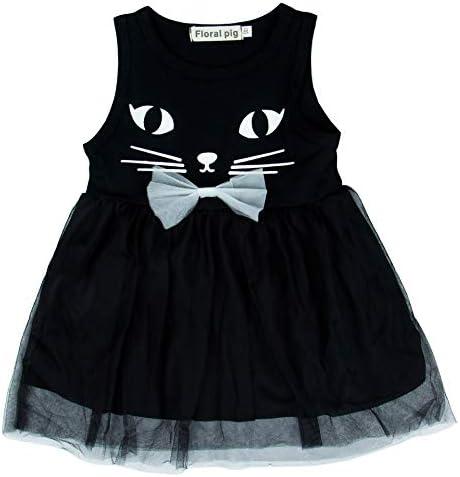 ANKECHANG ベビー服 ワンピース ドレス 猫ちゃんプリント 蝶結び ガールズスカート size 90 (ブラック)