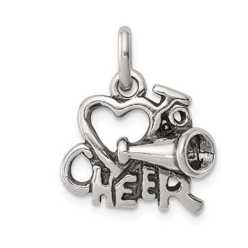 925 Sterling Silver I Love Cheer Pendant Charm Necklace Talking Sport Cheerleading S/love Message Fine Jewelry Gifts For Women For ()